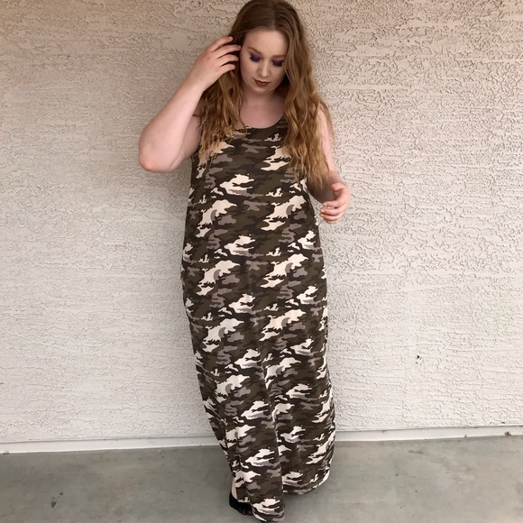 CAMOUFLAGE MAXI DRESS SLEEVELESS PLUS SIZE 3X